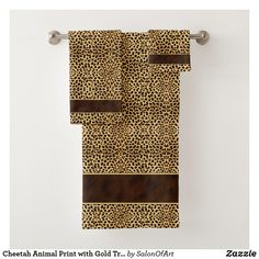Cheetah Animal Print with Gold Trimmed Brown Band Bath Towel Set - gold gifts golden diy custom Bath Towel Sets, Bath Towels, Animal Print Bathroom, Cheetah Animal, Cheetah Print, Towel Animals, Cat Themed Gifts, Brown Band, Pet Gifts