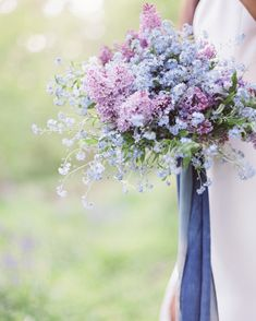 This lovely bouquet will show off your soft side with delicate lavender and blue hues that celebrate the spring season. Bouquet by Ponderosa and Thyme Purple Wedding Bouquets, Blue Bouquet, Flower Bouquet Wedding, Bridal Bouquets, White Bouquets, Bridesmaid Bouquets, Flower Bouquets, Greenery Bouquets, Bridesmaids
