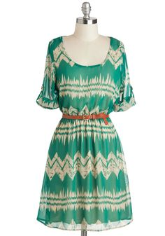 Mountain Dwelling Dress - Mid-length, Green, Tan / Cream, Chevron, Belted, Casual, A-line, Short Sleeves, Scoop, Folk Art, Spring