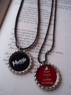 I can (and totally will) make these with stuff in my craft stash.  Probably this weekend.  Yay for inspiration!  >>> HP bottlecap necklaces from Etsy