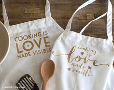 Make a Custom Apron with a Glitter Iron-On Quote