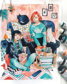 Dana and Jane are just chilling with cats~😸 I filmed this btw!🎬 Today I'm feeling so bad so I'm just laying down the whole day watching… Art And Illustration, Watercolor Illustration, Watercolor Paintings, Arte Sketchbook, Guache, Pretty Art, Art Plastique, Anime Art Girl, Art Sketches