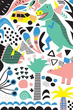 Jurassic Party by Hello Pants #illustration