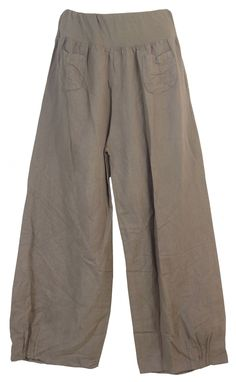 Damen Hose / Leinenhose aus luftigem angenehm zu tragendem Leinen, bequemer Schnitt, Gummibund, 2 aufgesetzte Taschen vorne, Größen M - 3XL, Made in Italy: Amazon.de: Bekleidung