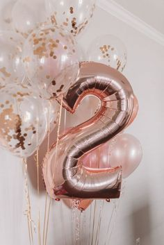 gold 2 balloon with other rose gold confetti balloons around it TEA FOR TWO. - rose gold 2 balloon with other rose gold confetti balloons around it TEA FOR TWO 2nd Birthday Party For Girl, Second Birthday Ideas, Girl Birthday Decorations, Birthday Celebration, Rose Gold Party Decorations, Celebration Balloons, 26th Birthday, Little Girl Birthday, Graduation Decorations