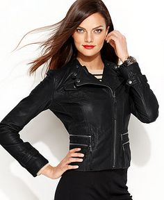 MICHAEL Michael Kors Jacket, Quilted Leather Motorcycle - Womens Jackets & Blazers - Macy's