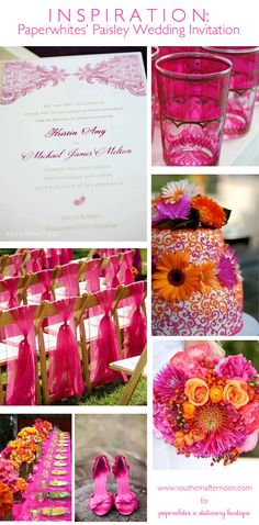 Orange and pink wedding ideas. Exactly the colors I'm thinking!