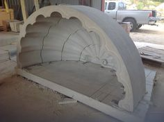 Buff Lueders limestone, hand tooled, cut to fit as a front entry for Houston residence.