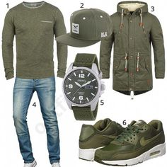 Green men& outfit with Nike, Seiko and Grünes Herrenoutfit mit Nike, Seiko und Blend Green men& outfit with Nike, Seiko and Blend - Neue Outfits, Swag Outfits, Casual Outfits, Men Casual, Mode Man, Herren Style, Mens Fashion Wear, Herren Outfit, Outfit Grid