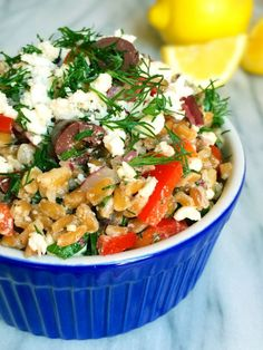 Greek Style Farro Salad - The Lemon Bowl
