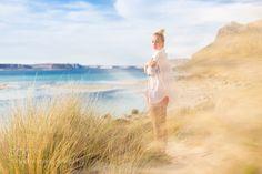 Free Happy Woman Enjoying Last Autumn Sun on Vacations. Happy Women, Yoga Meditation, Dune, Autumn, Vacations, Couple Photos, Woman, Travel, Collection