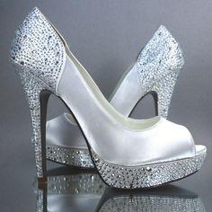 Wedding Shoes Ivory Platform Peep Toe by DesignYourPedestal