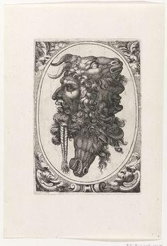 Giovanni Andrea Maglioli | Samenstelling van twee baardige manskoppen, en de koppen van een bok en een paard, Giovanni Andrea Maglioli, c. 1580 - c. 1610 | Links en rechts een baardige mannenkop, bovenaan een bokkenkop en onderaan een paardenkop, In ovaal met maskerons in de hoeken.