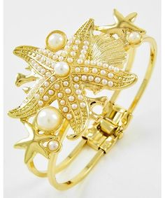 438567 Gold Tone / White Synthetic Pearl / Lead Compliant / Starfish / Fold-over Bracelet