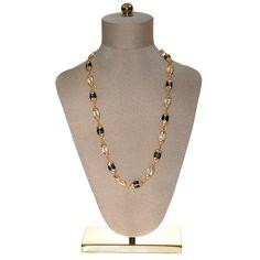Swarovski Black, Gold, Clear, Crystal Necklace