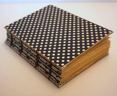 Handmade Navy Blue and White Polka Dot Coptic Journal