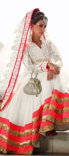 8,160 Cost includes Dress material for Kameez, Bottom & Dupatta. Worldwide Shipping is FREE (Guaranteed 2 Business days dispatch) Tentative Delivery By 12 Feb, 2015 99413: White and Off White color family unstitched Anarkali Suits.