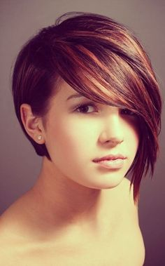 Dark Red Brunette Hair Color: Asymmetry Short Haircut