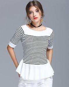 White Stripes Half Sleeve Ruffled Sweater