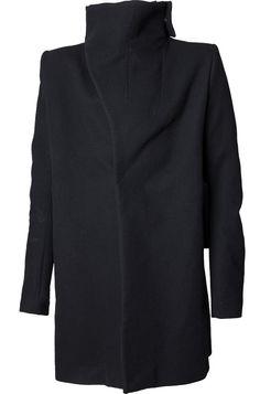 Obscur   High neck burned elbows wool coat