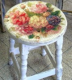 decoupage and crackled stool I have a tiny telephone table and tiny chair that equally tiny grandmother used with her candlestick phone. This is the perfect inspiration for it. Wonderful.