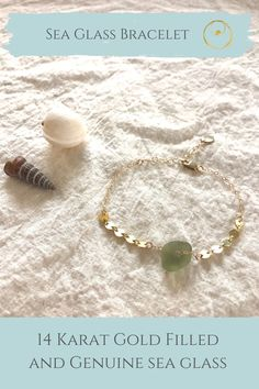 Dainty gold sea glass bracelet made with authentic sea glass from Panama. Dainty Gold Jewelry, Sea Glass Jewelry, 14 Karat Gold, Jewellery Making, Bracelet Making, Jewelry Shop, Panama, Women Jewelry, Inspired