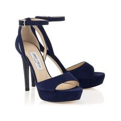 KAYDEN (92965 RSD) ❤ liked on Polyvore featuring shoes, sandals, jimmy choo, heels, navy platform sandals, navy blue heeled sandals, navy shoes, summer shoes and navy suede shoes