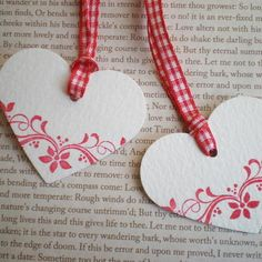 Set Of 6 Handmade Heart Shaped Gift Tags / Deco... - Folksy
