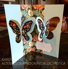 Karen Aicken using the Pop it Ups Butterfly Pivot Card and Katie Label die sets by Karen Burniston for Elizabeth Craft Designs. - Altered Scrapbooking: Butterfly Birthday Pivot Card