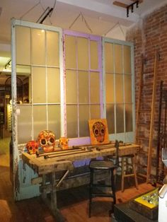 Old doors with windows as room divider