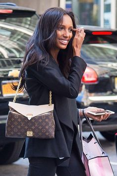 Jasmine Tookes with signature Victoria's Secret Fashion Show bombshell hair