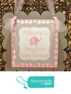 1 - Door Sign - Pink Baby Elephant Baby Shower Collection - Pink Argyle and Polka Dots Backgrounds & Gray and White Accents - Party Packs Available from Emerald City Paperie http://www.amazon.com/dp/B01CH5CB48/ref=hnd_sw_r_pi_dp_9tl3wb07YKJH6 #handmadeatamazon