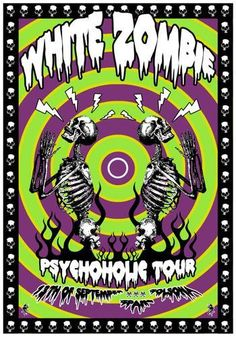 White Zombie Classic metal rock psychedelic music poster  ☮~ღ~*~*✿⊱  レ o √ 乇 !! ~