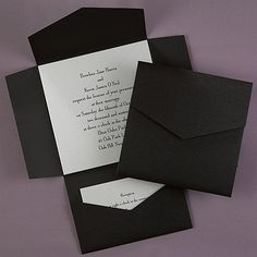 "Black Self-Mailer with Silver Shimmer Card Wedding Invitations You'll receive a black envelopment and a square silver shimmer invitation card printed with your wording. The envelopment also features a pocket to hold your enclosure cards  Dimensions: 6 3/8"" x 6 3/8"" Card• Price Includes: Printed base card, pocket wrap and clear blank seals • Production Time: 24-48"
