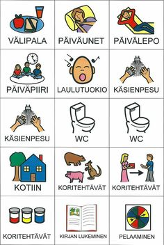 Päiväkuvat - huom! kotitehtävät esim. Hiljaisena työnä, kun muut vielä lepohetkellä Learn Finnish, British And American English, Finnish Words, Finnish Language, Nursery School, Early Childhood Education, Pre School, Special Education, Diy For Kids