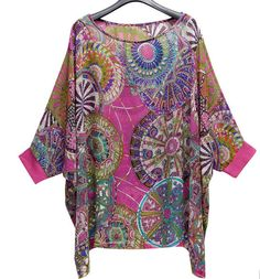 To find out about the Pink Tribal Print Chiffon Batwing Half Sleeve Blouse at SHEIN, part of our latest Blouses ready to shop online today! Kaftan Tops, Tunic Tops, Blouse Styles, Blouse Designs, Elisa Cavaletti, Half Sleeve Shirts, Summer Dress Outfits, Plus Size Fashion For Women, African Fashion Dresses