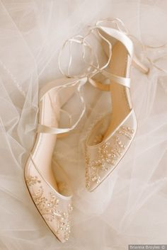 Wedding day shoe inspo for the bride - white classic heels with beading and mesh details {Brianna Broyles}