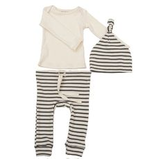 our drawstring leggings and elf/knot hat in natural and charcoal striped organic cotton and a cream long-sleeve lap tee. the perfect snuggly gift for a new baby.all of our organic cotton products are made ethically in the usa from start to finish, from the cotton, through the custom low-impact dying and finally to the sewn garment.available in 3m, 6m, 12m, 18m, 2/3100% organic cottonmade in usa