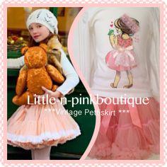 Pink Vintage inspired pettiskirt & happy girl top at www.littleandpinkboutique.co.uk