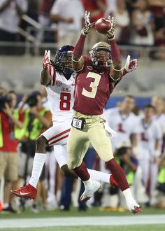 c2aa2126 Derwin James picks off the pass while Quincy Adeboyejo can only watch. FSU  vs Ole Miss