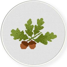 FREE for Oct 9th 2015 Only - Acorns With Leaves Cross Stitch Pattern