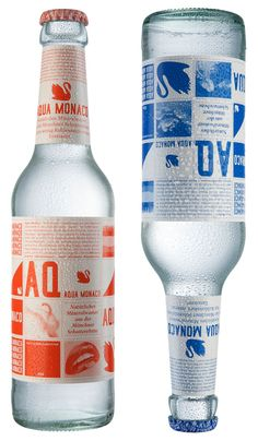 Package design for Aqua Monaco. Contemporary, clean, refreshing... Beats out Jones' Soda with the monochromatic color scheme and clear liquid
