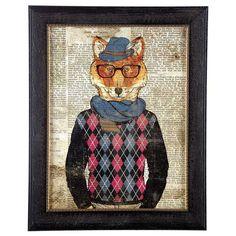 Hipster Fox Framed Wall Art