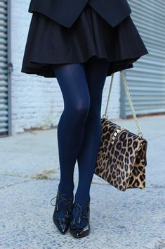 black and navy with a touch of leopard