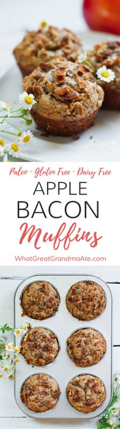 These low carb and paleo Apple Bacon Muffins are so fluffy, moist, delicious, and they are a perfect make-ahead breakfast! paleo breakfast make ahead Bacon Muffins, Gluten Free Muffins, Gluten Free Baking, Gluten Free Recipes, Apple Muffins, Paleo Baking, Bacon Recipes, Keto Recipes, Healthy Recipes