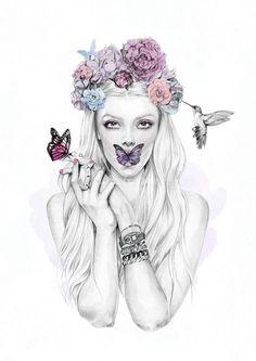 illustration flowers watercolor face - Google-haku