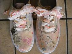tennis shoes shabby chic cottage chic romantic bohoCUSTOM via Etsy