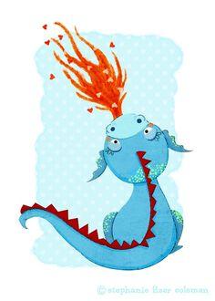 Children's Art Print  Blue Dragon Print  by TheFoxandTheTeacup, $8.00