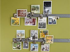 Use magnetic clips and a metal bar to display photos.