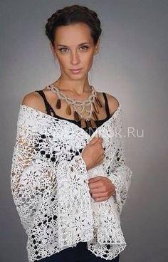 Белоснежный палантин из мотивов | Вязание для женщин | Вязание спицами и крючком. Схемы вязания.